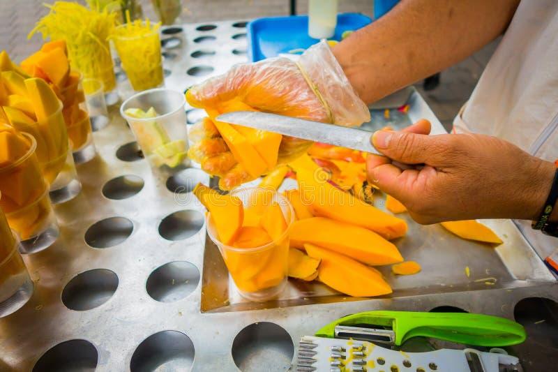 Fresh sliced mango, street food in Medellin royalty free stock photography