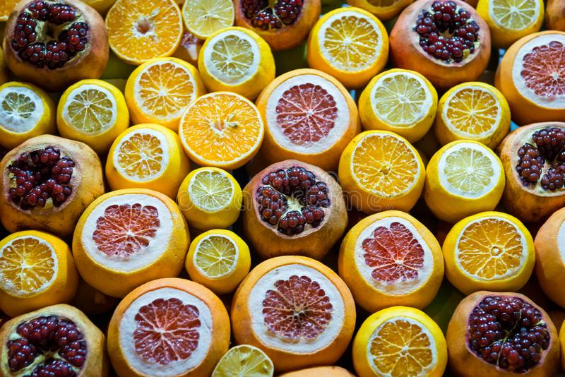 Fresh sliced mixed citrus. Istanbul stock photo