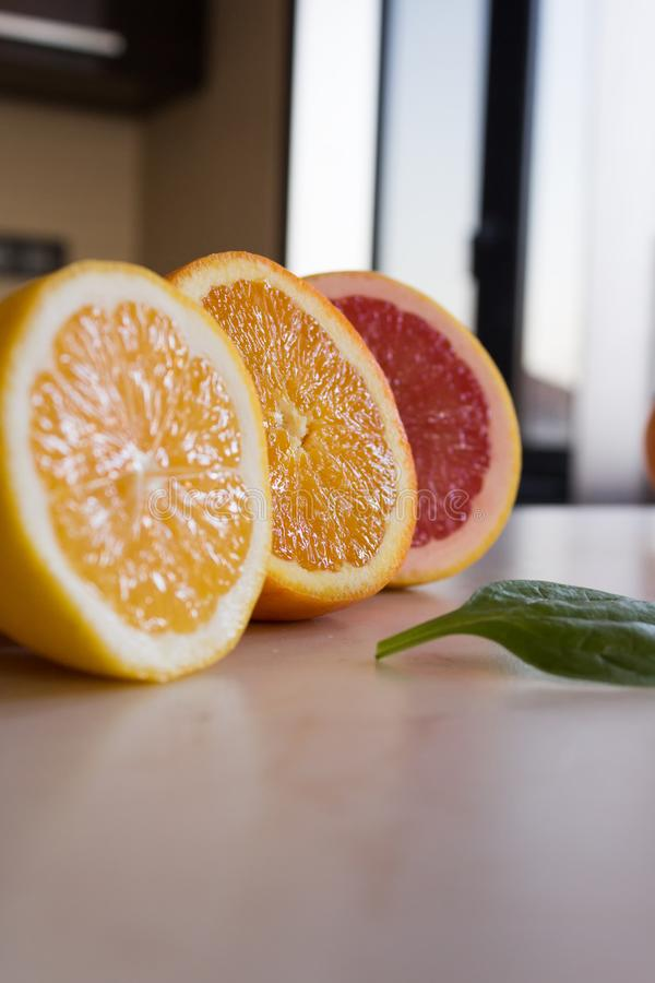 Fresh orange and grapefruit stock photo