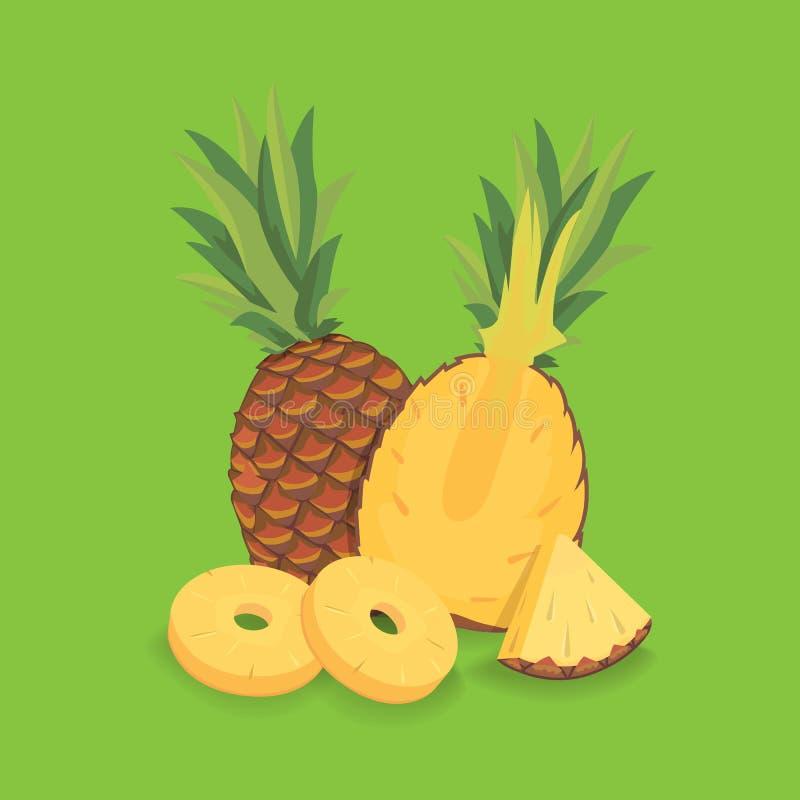Fresh sliced pineapple illustration vector illustration