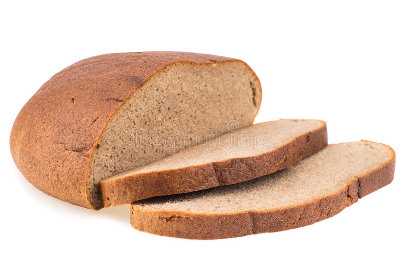 Fresh sliced rye bread loaf isolated on white background cutout. Selective focus stock photography