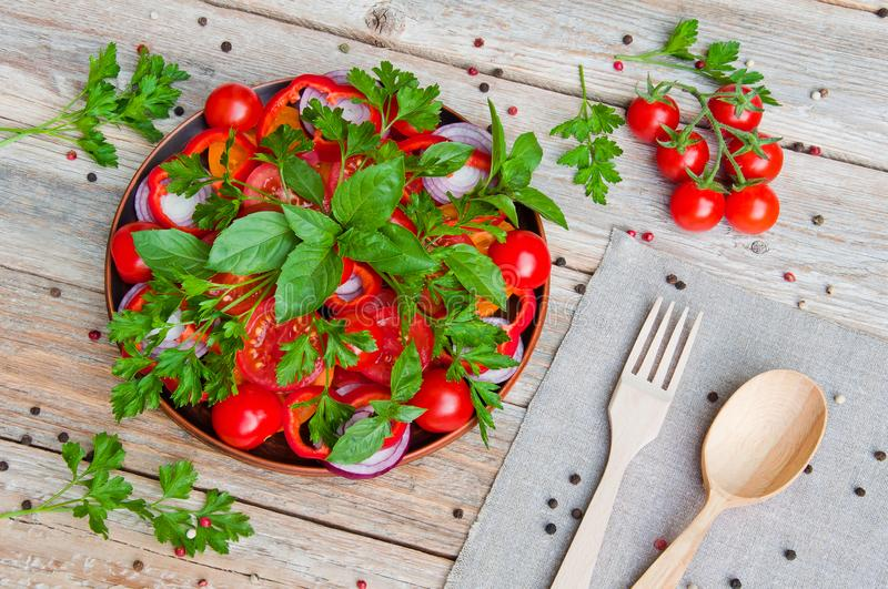 Fresh sliced tomato salad and other vegetables and greens on a plate royalty free stock photo