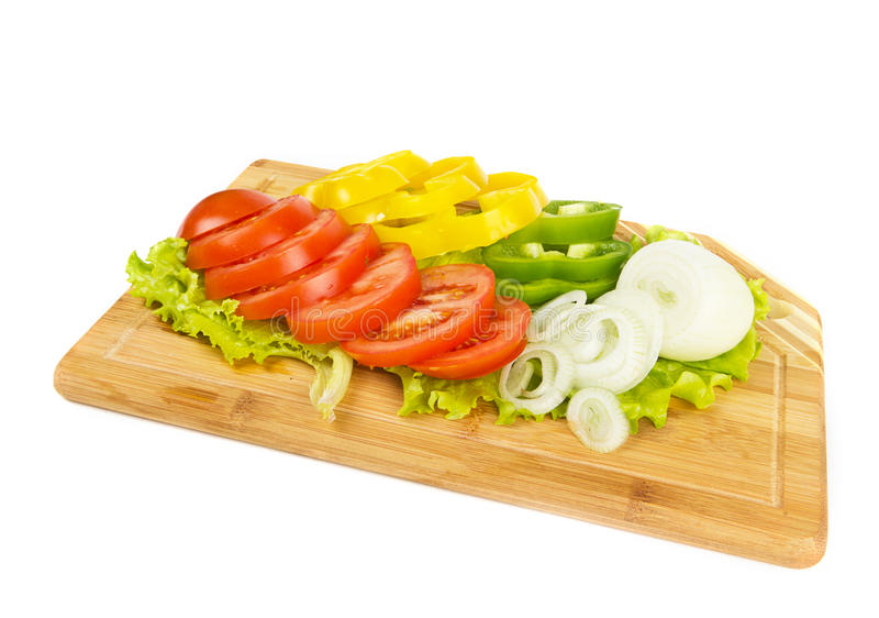 Fresh Sliced Vegetables On White Royalty Free Stock Images
