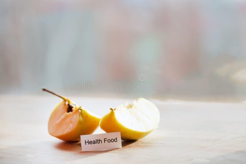 Fresh slices of apple. Concept write - Health food stock photo