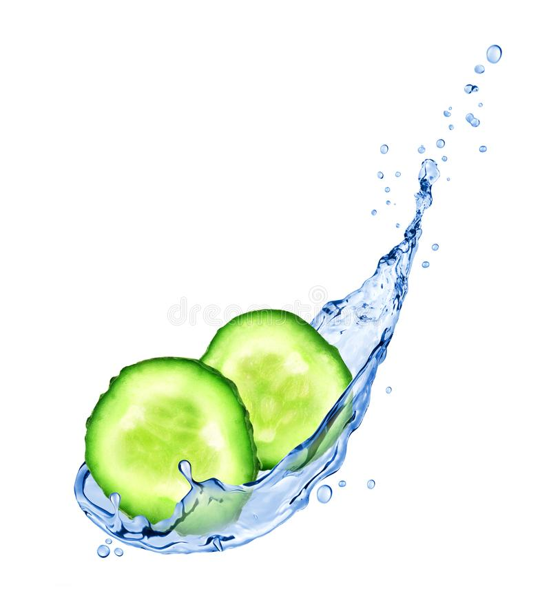 Fresh slices of cucumber with water splashes isolated on white royalty free stock photos