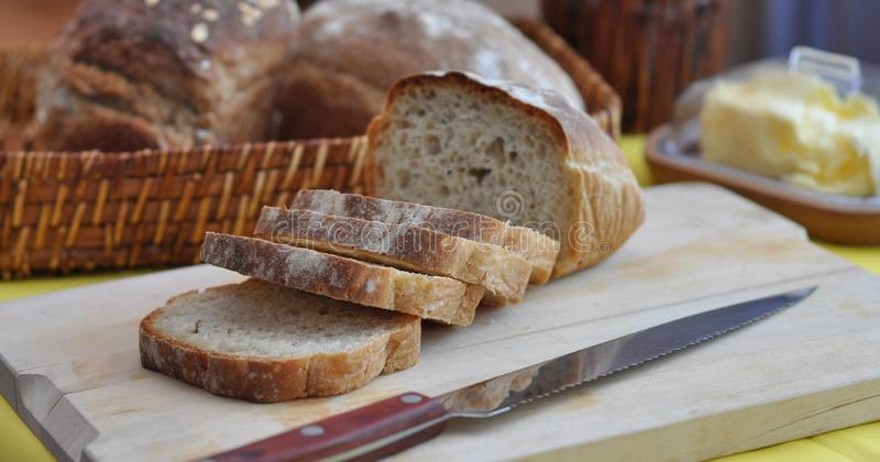 Fresh slices of bread ciabatta royalty free stock images