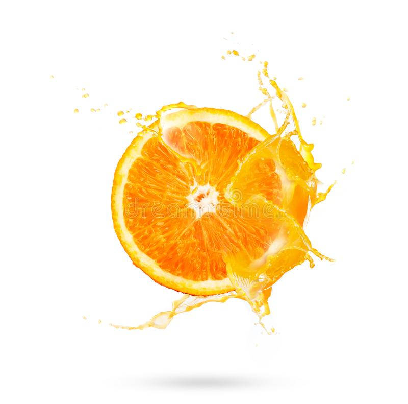 Fresh slide half of ripe orange fruit with orange juice splash w. Ater on white background royalty free stock images