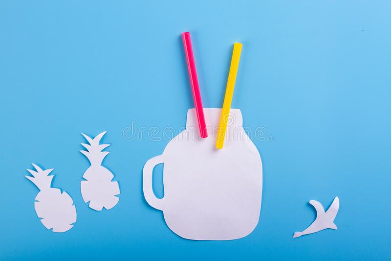 Fresh smoothies cartoon styled. On blue background royalty free stock photography