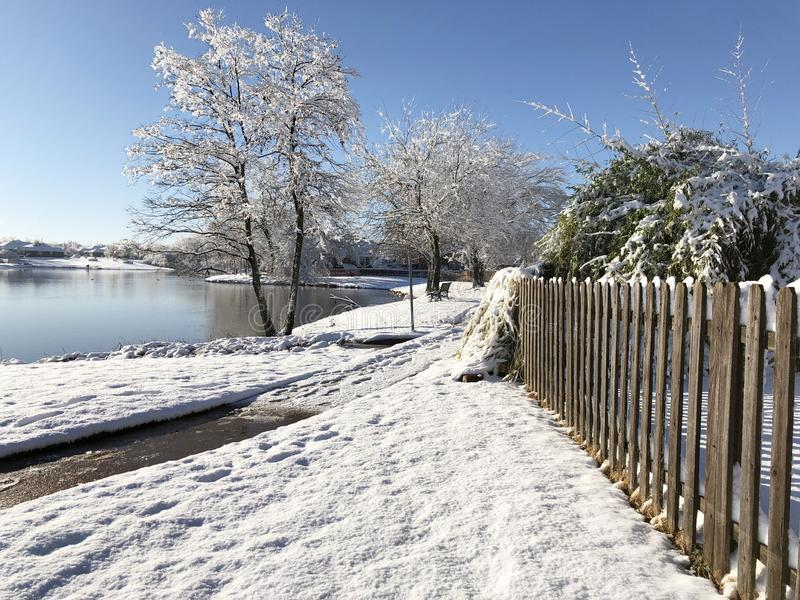 Snow covers the ground and the trees by the pond. Fresh snow covers the ground and the trees by the pond stock photo