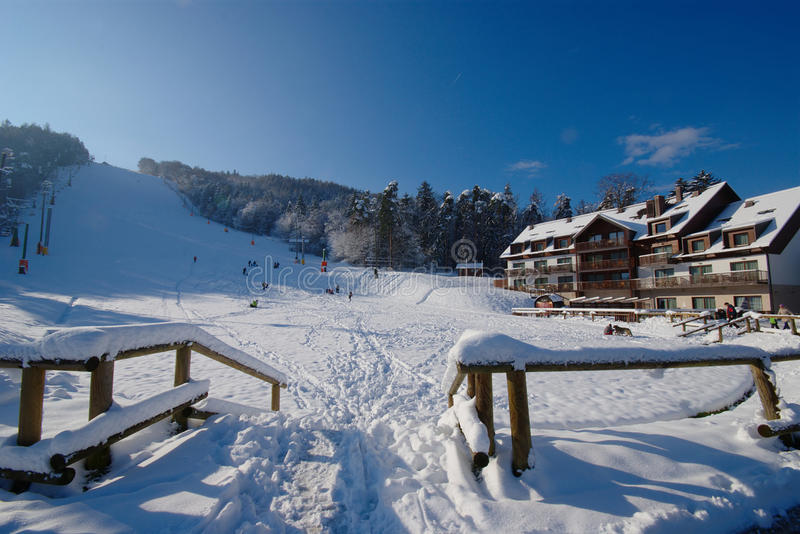 Fresh Snow On Pohorje, Maribor, Slovenia. Fresh snow on Pohorje Mountain (Maribor, Slovenia) just one week after canceling of 50. Golden Fox ski competition and stock photo