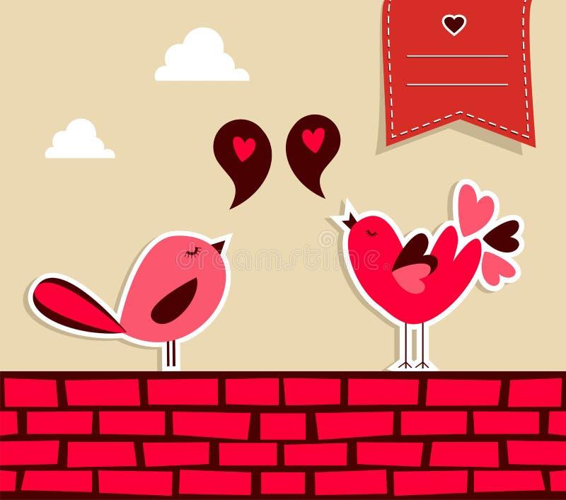 Fresh social media birds love royalty free illustration