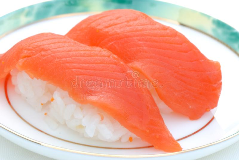 Fresh Sockeye salmon Sushi stock images