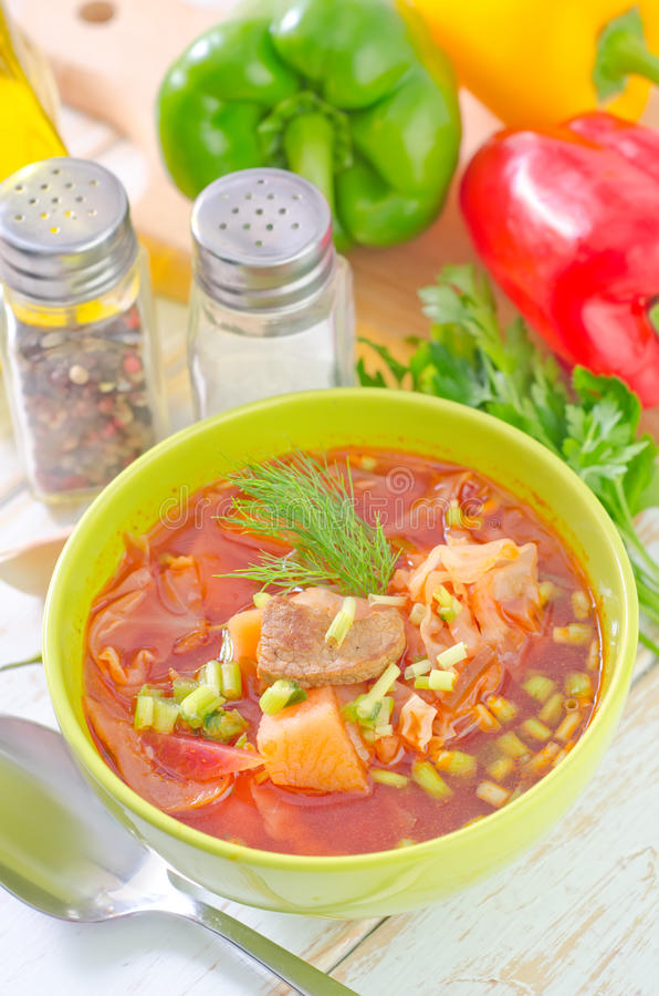 Fresh soup. In green bowl royalty free stock photos
