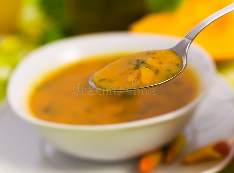 Fresh Soup of Pumpkin ,close up royalty free stock image