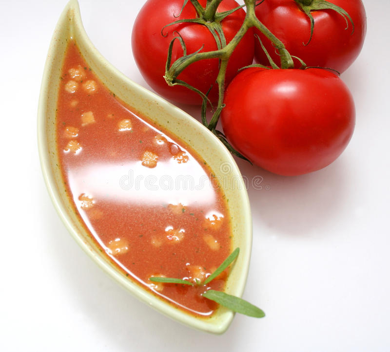 A fresh soup of tomatoes stock photo