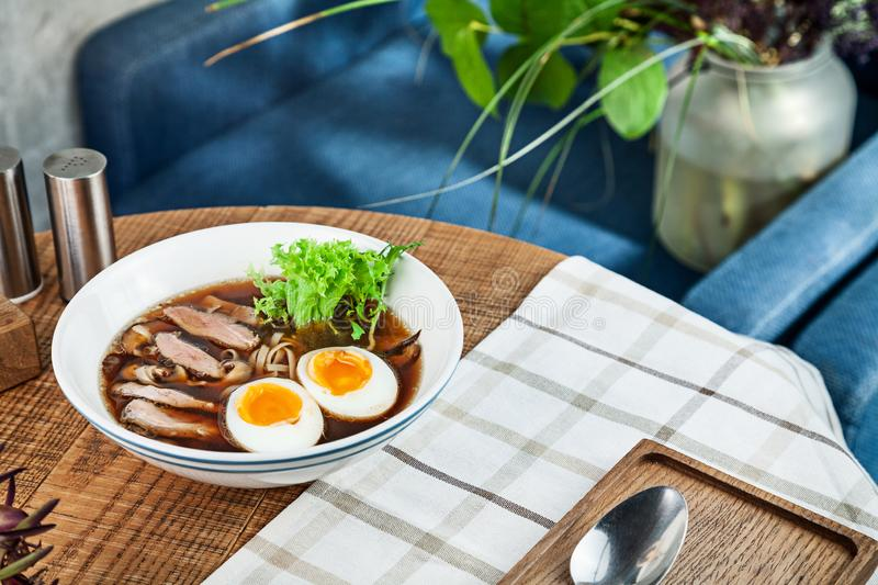 Fresh spicy soup with duck, egg, mushrooms and noodle. Traditional vietnamese noodle soup in bowl. Asian/vietnamese cuisine. Copy royalty free stock photos