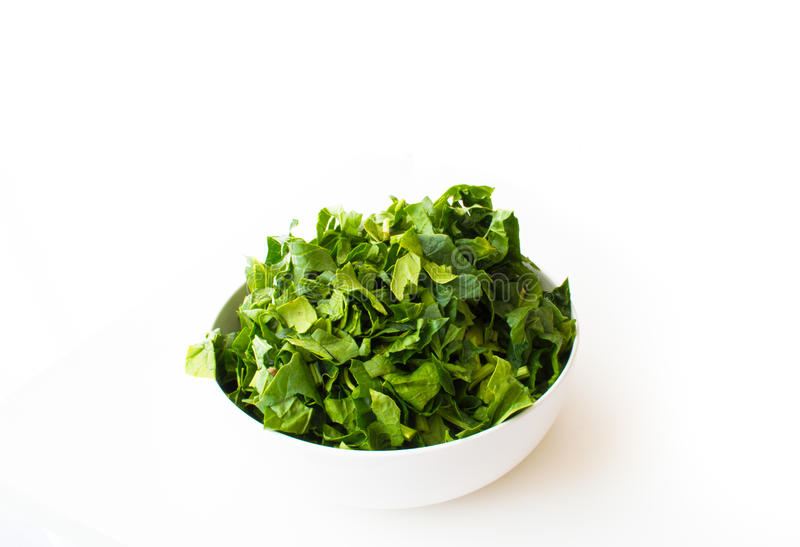Fresh spinach isolated on white. Background royalty free stock image