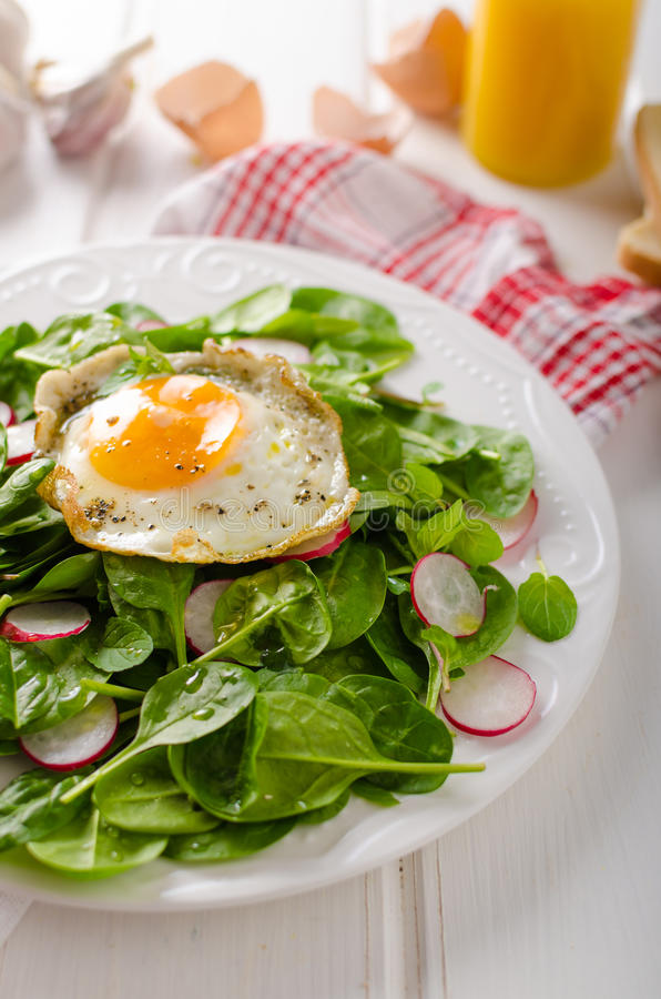 Fresh spinach, radish salad with fried egg. Fresh spinach salad with fried egg and radish, white board, white bread, bio eggs royalty free stock image
