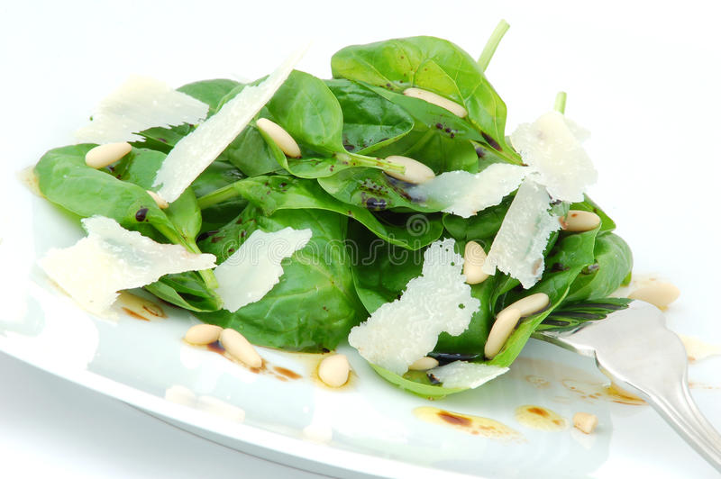 Fresh spinach salad close up stock images
