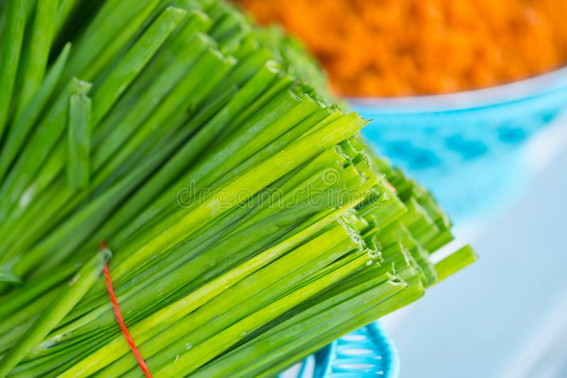 Fresh spring onion for side dish of Pad Thai. Close up stock photography