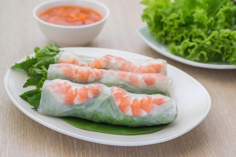 Fresh spring roll with shrimp and dipping sauce, Vietnamese food. Fresh spring roll with shrimp on plate and dipping sauce, Vietnamese food royalty free stock photo
