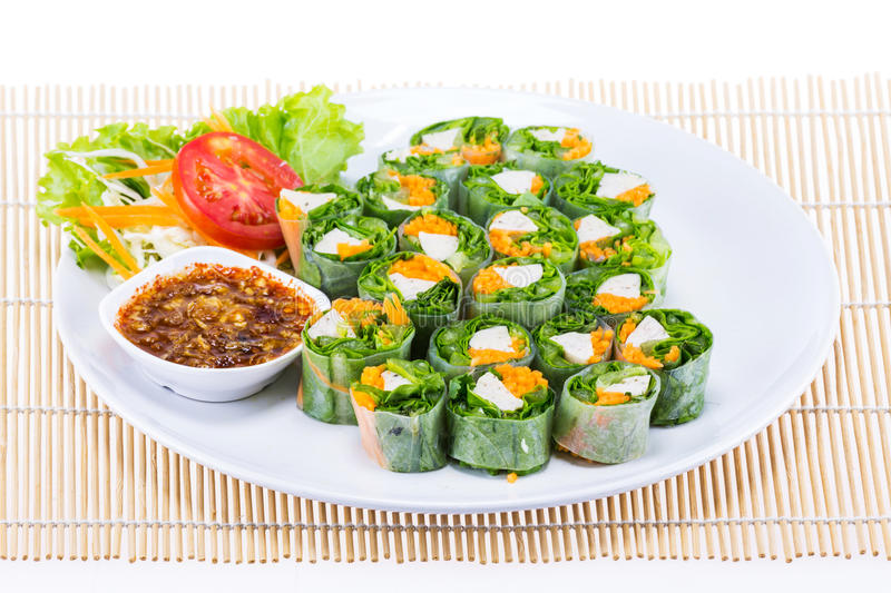 Fresh spring roll vietname food. For lunch stock image