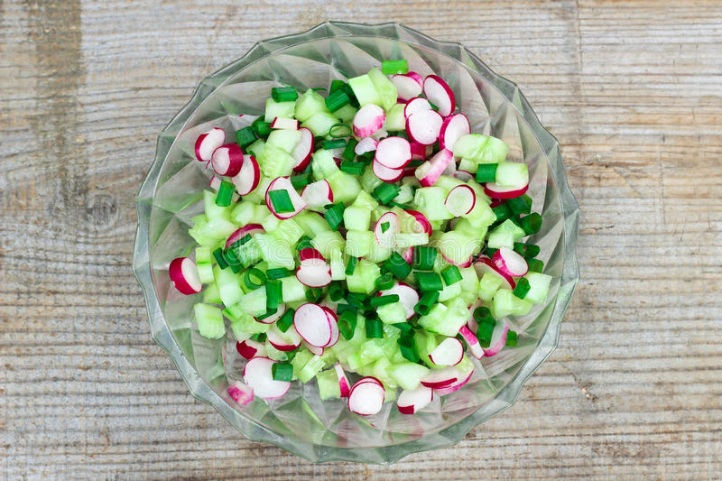 Fresh spring salad with cucumbers, green onion and radish stock images