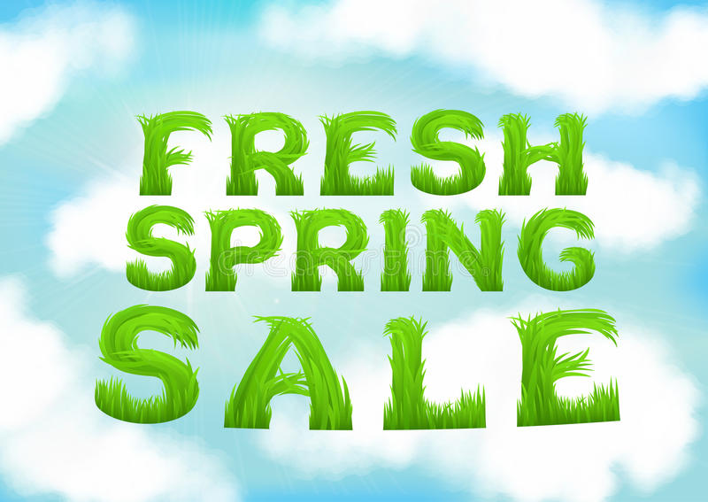 Fresh spring sale inscription made of grass. White clouds on blue spring sky wallpaper. Natural blurred soft background. vector illustration