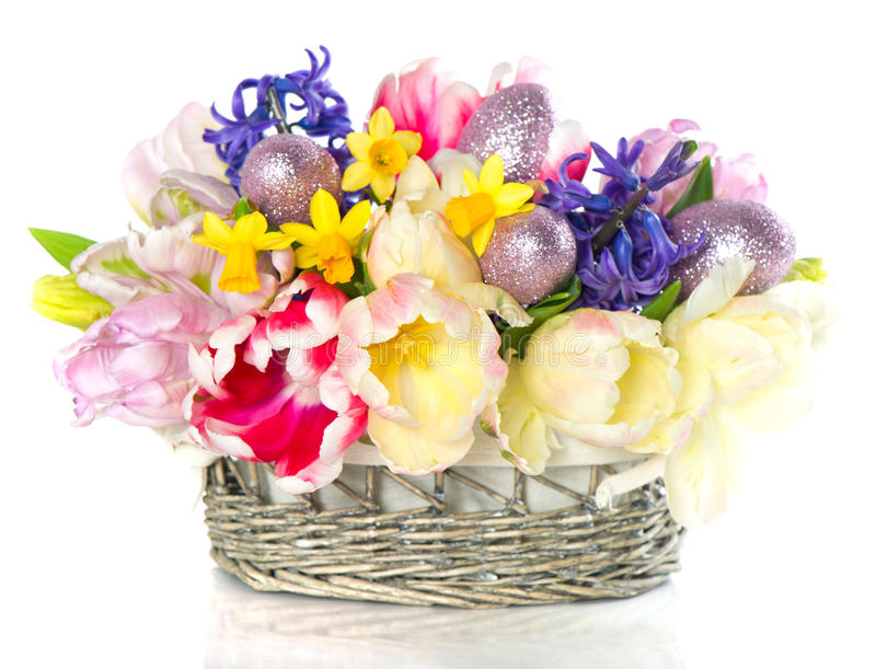 Download Fresh Spring Tulips With Easter Eggs Decoration Stock Photo - Image: 23118662