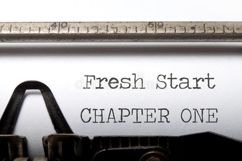 Fresh start. Chapter one printed on an old typewriter royalty free stock image