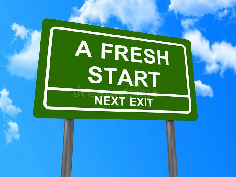 A fresh start next exit sign. Illustration of a fresh start next exit road sign with blue sky and cloudscape background royalty free illustration