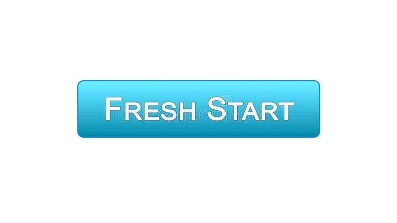 Fresh start web interface button blue color, business innovation, site design. Stock footage stock illustration