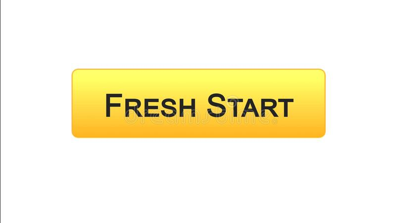 Fresh start web interface button orange color, business innovation, site design. Stock footage vector illustration