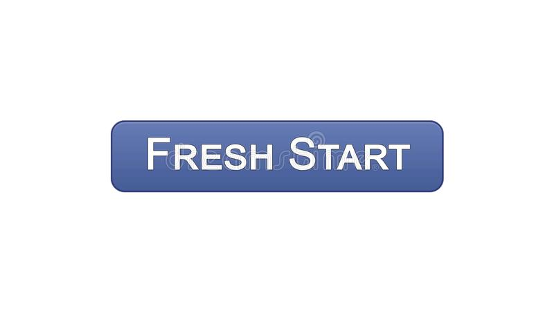Fresh start web interface button violet color, business innovation, site design. Stock footage royalty free illustration