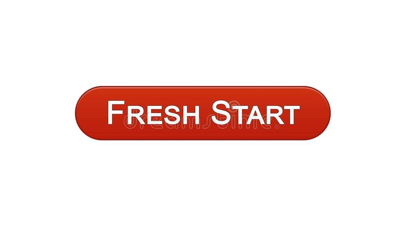 Fresh start web interface button wine red color, business innovation site design. Stock footage vector illustration