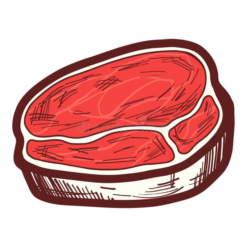 Fresh steak icon, hand drawn style royalty free illustration