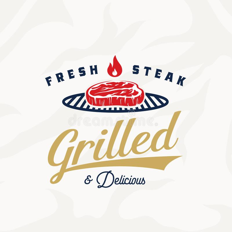 Fresh Steak Vintage Vector Label, Card, Emblem or Logo Template. Retro Typography and Meat Texture. Gold, Blue and Red vector illustration