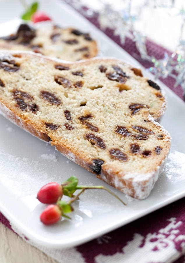 Fresh stollen cake royalty free stock photos