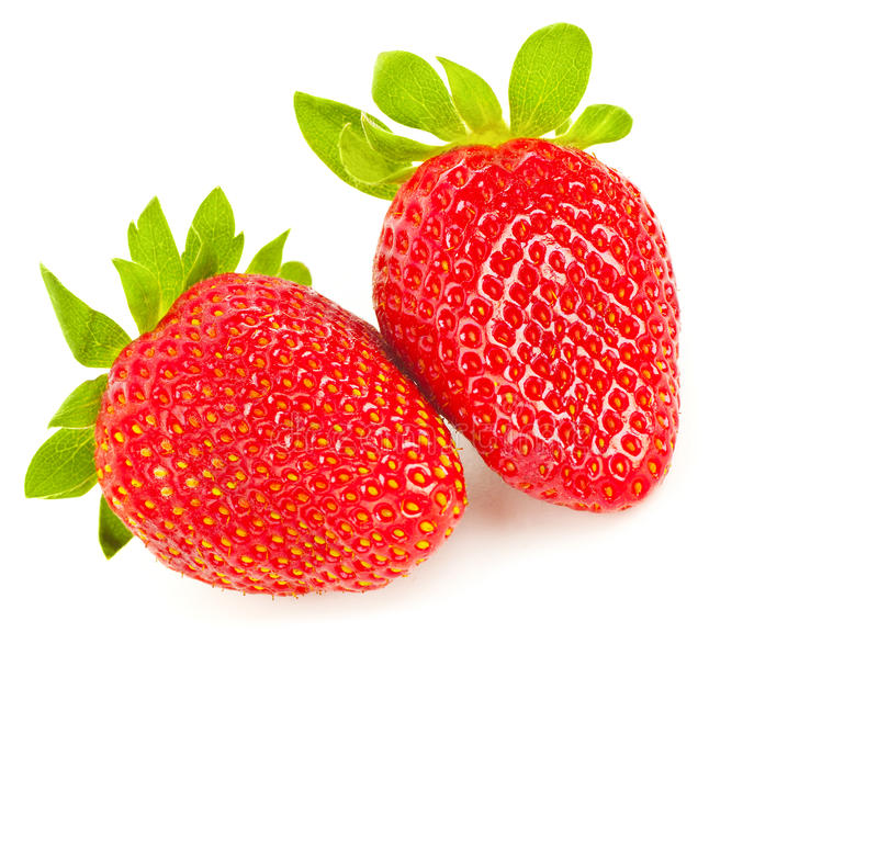 Fresh strawberries. Ripe red tasty berry isolated over white background, healthy fruit breakfast, organic nutrition and diet concept royalty free stock photos