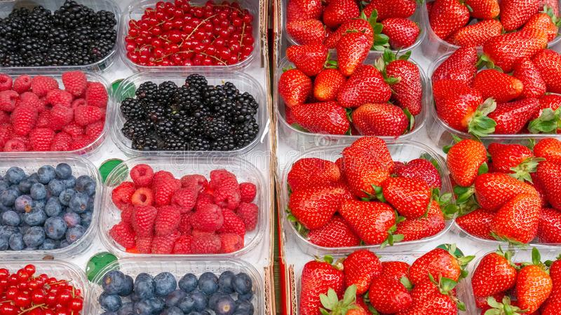 Fresh strawberries, blueberries, currants and raspberries stock photography