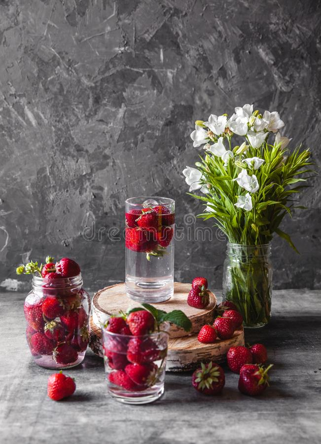Fresh strawberries in the box on wooden vintage table, Healthy food, fruit royalty free stock photography