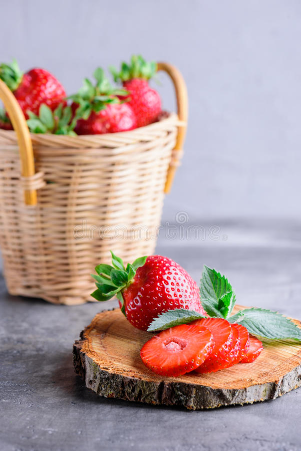 Fresh strawberries and mint stock image
