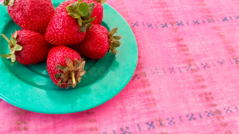 Fresh Strawberries Served on a Table. Fresh Strawberries Served in a Plate royalty free stock photos