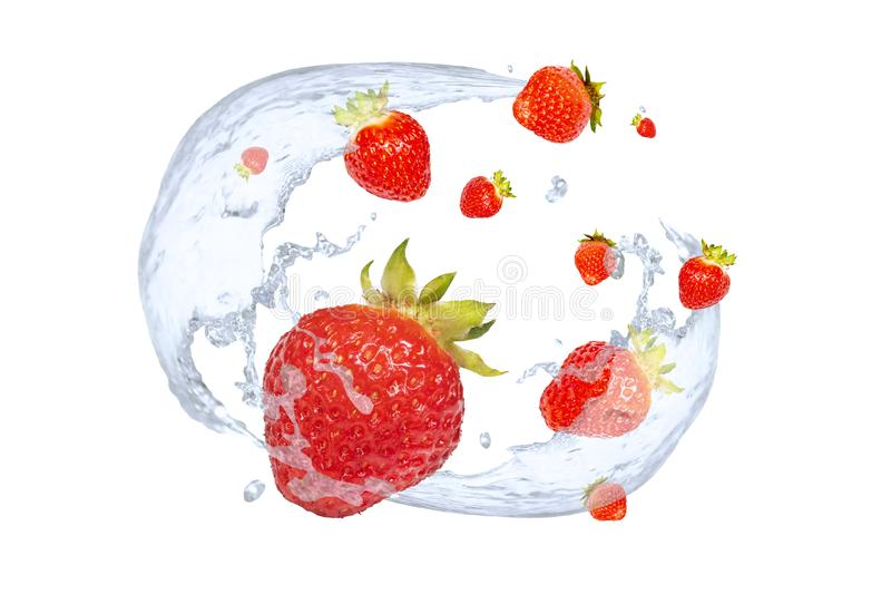 Fresh strawberries and splashes of cold water royalty free stock photo