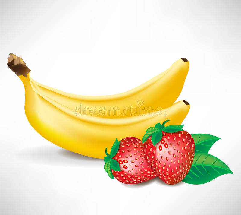Download Fresh Strawberries And Two Bananas Stock Vector - Image: 22439425