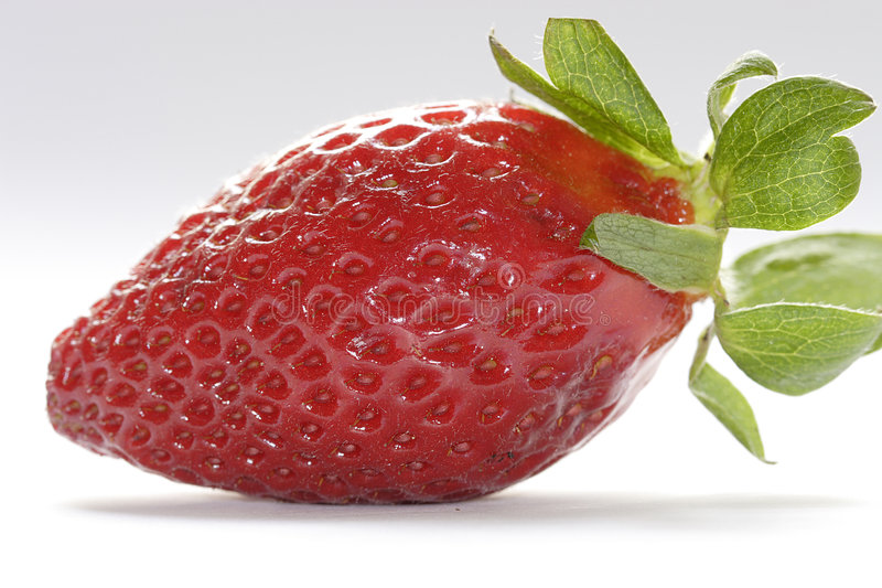 Fresh strawberry. With leaves stock photo