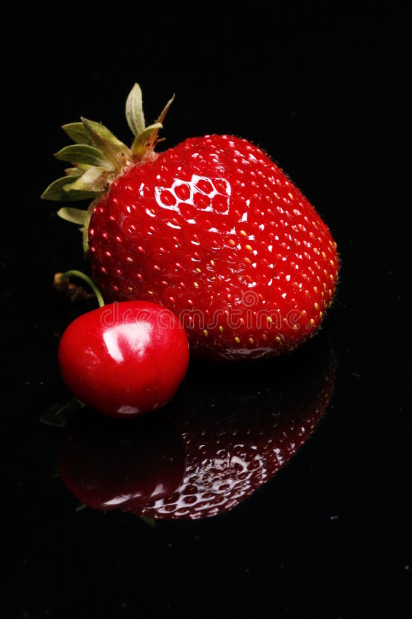 Fresh Strawberry and Cherry stock photography