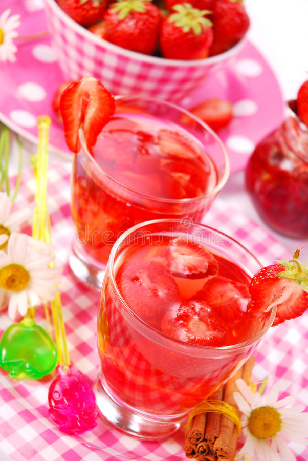 Fresh strawberry drink stock images