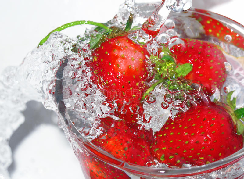 Fresh strawberry in glass royalty free stock photography