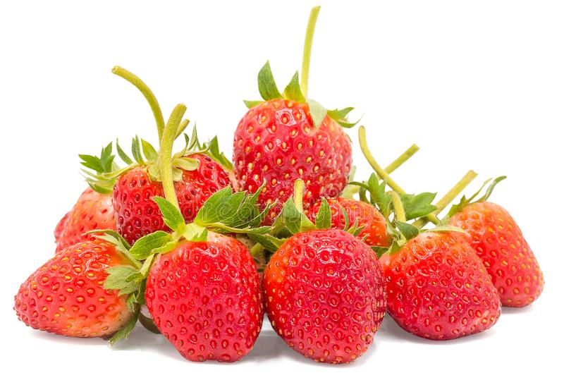 Fresh Strawberry isolated on white background with clipping path , Closeup , Copy space stock photo